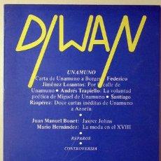 Coleccionismo de Revistas y Periódicos: (MIGUEL DE UNAMUNO, ANDRÉS TRAPIELLO, ETC.) - DIWAN 10. MIGUEL DE UNAMUNO - ZARAGOZA 1981. Lote 219067256