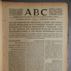Coleccionismo de Revistas y Periódicos: PERIÓDICO GUERRA CIVIL ABC 15/09/1937 AVANCES LEÓN TOMA DE MAZUCO...OFENSIVA EN ARAGÓN DESARTICULADA. Lote 219256568