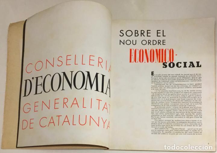 Coleccionismo de Revistas y Periódicos: GUERRA CIVIL. CONSELLERIA D'ECONOMIA. 1 OCTUBRE 1936. Nº 1. - Foto 3 - 219275405