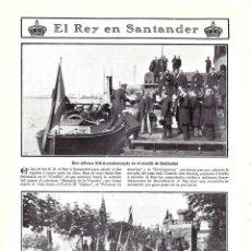 Colecionismo de Revistas e Jornais: 1907 HOJA REVISTA SANTANDER PUERTO MUELLE LANCHA REY ALFONSO XIII REVISTA DE BOMBEROS CARROZA. Lote 219297895