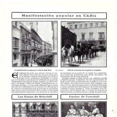 Coleccionismo de Revistas y Periódicos: 1907 HOJA REVISTA CÁDIZ MANIFESTACIÓN OBRAS DEL PUERTO CALLE ISAAC PERAL GUARDIA CIVIL A CABALLO. Lote 219304213