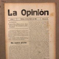 Coleccionismo de Revistas y Periódicos: SEMANARIO LA OPINIÓN N° 12 (BILBAO 1916). PUBLICACIÓN LIBERAL CREADA POR GREGORIO DE BALPARDA. Lote 220067707