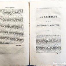Colecionismo de Revistas e Jornais: DE L´ESPAGNE, A PROPOS DE NOUVEAU MINISTÈRE. (VIARDOT. 1836) REGENCIA. 1ª GUERRA CARLISTA. ETC.. Lote 220736945