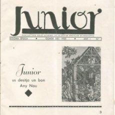 Coleccionismo de Revistas y Periódicos: JUNIOR Nº 2 ANY 1 GENER 1935 PORTAVEU ALUMNES MUTUA ESCOLAR BLANQUERNA. Lote 221394077