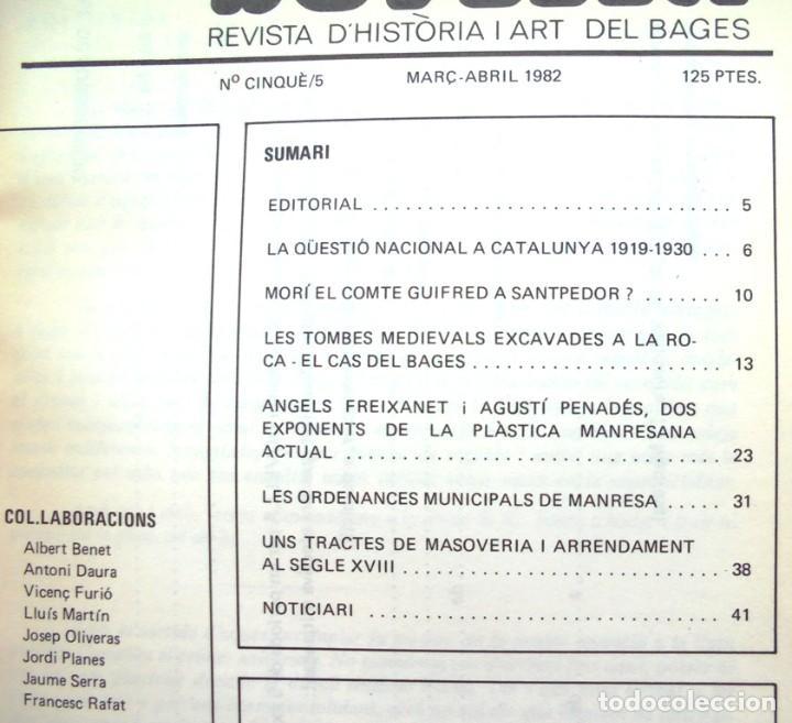 Coleccionismo de Revistas y Periódicos: Dovella Revista d'Història i Art del Bages 1982 núm. 5 Santpedor, tombes excavades a la roca, Àngels - Foto 2 - 221580971