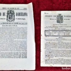 Coleccionismo de Revistas y Periódicos: DIARIO DE BARCELONA. NUM. 94 Y 343. BARCELONA. ESPAÑA. SIGLO XIX. Lote 221653172