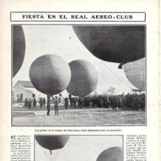 Coleccionismo de Revistas y Periódicos: 1907 HOJA REVISTA MADRID FIESTA EN EL REAL AERO-CLUB DE ESPAÑA GLOBOS AEROSTÁTICOS. Lote 221708322