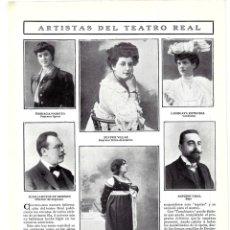 Coleccionismo de Revistas y Periódicos: 1907 HOJA REVISTA MADRID ARTISTAS TEATRO REAL ENGRACIA PARETTO BEATRIZ VILLAR ANTONIO VIDAL KORALEK. Lote 221708456