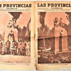 Coleccionismo de Revistas y Periódicos: PARTE GRÁFICA PERIÓDICO LAS PROVINCIAS 26 Y 28 JULIO 1931 VALENCIA - MONUMENTO POETA QUEROL. Lote 221716230