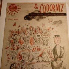 Coleccionismo de Revistas y Periódicos: REVISTA LA CODORNIZ 16 DE FEBRERO 1958 AÑO XVIII Nº 848. Lote 221735858