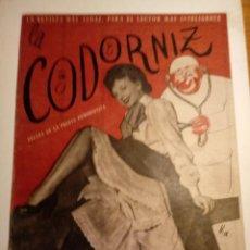 Coleccionismo de Revistas y Periódicos: REVISTA LA CODORNIZ 29 DE JULIO 1956 AÑO XVI Nº 767. Lote 221735991