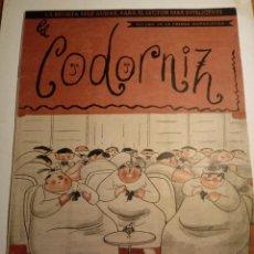 Coleccionismo de Revistas y Periódicos: REVISTA LA CODORNIZ 27 DE MAYO 1956 AÑO XVI Nº 758. Lote 221736033