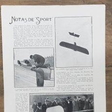 Coleccionismo de Revistas y Periódicos: 1913.HOJA.AVIACION AVIADOR DOMENJOZ MADRID VUELO INVERTIDO.GARNIER.KINDELAN,VIVES.AERO CLUB ESPAÑA. Lote 221772423