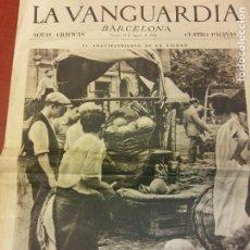 Coleccionismo de Revistas y Periódicos: LA VANGUARDIA. VIERNES 14 AGOSTO DE 1936. NOTAS GRÁFICAS. EL ABASTECIMIENTO DE LA CIUDAD. CUATRO PAG. Lote 221782111