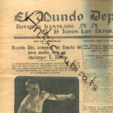 Coleccionismo de Revistas y Periódicos: MUNDO DEPORTIVO AÑO 1926 FUTBOL CLUB BARCELONA F.C. SAGI SAMITIER SASTRE RICARDO ALIS VILLARREAL. Lote 222006552