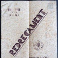 Coleccionismo de Revistas y Periódicos: 'REDREÇAMENT' BOY SCOUTS DE CATALUNYA. ANY 1 NUM. 1 BARCELONA ENERO-FEBRERO 1934. Lote 222008927