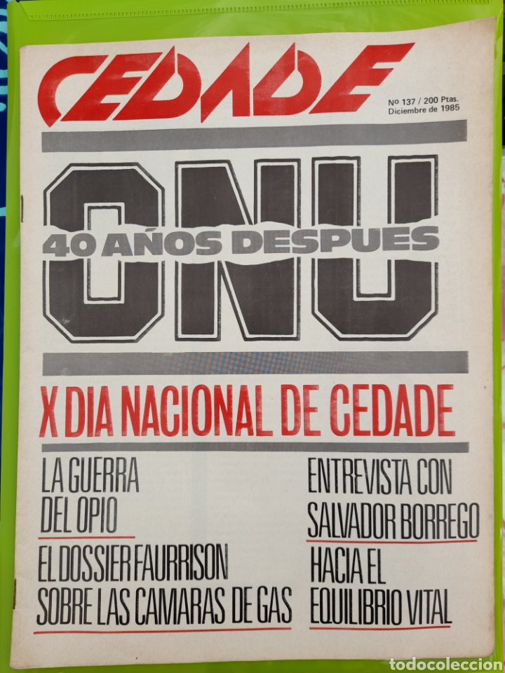 REVISTA CEDADE. NO. 137, DICIEMBRE DE 1985 (Coleccionismo - Revistas y Periódicos Modernos (a partir de 1.940) - Otros)