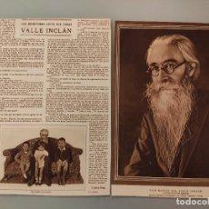 Coleccionismo de Revistas y Periódicos: ENTREVISTA REVISTA ORIGINAL ANTIGUA A DON RAMON DEL VALLE INCLAN. Lote 222819137