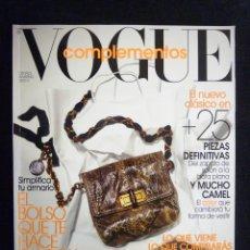 Collectionnisme de Revues et Journaux: REVISTA VOGUE ESPAÑA. COMPLEMENTOS Nº 19, OTOÑO INVIERNO 2010-2011. Lote 223667008