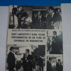 Coleccionismo de Revistas y Periódicos: RECORTE CLIPPING DE BURT LANCASTER Y ALAIN DELON REVISTA SEMANA Nº 1691 PAG. 54 L2. Lote 223936085