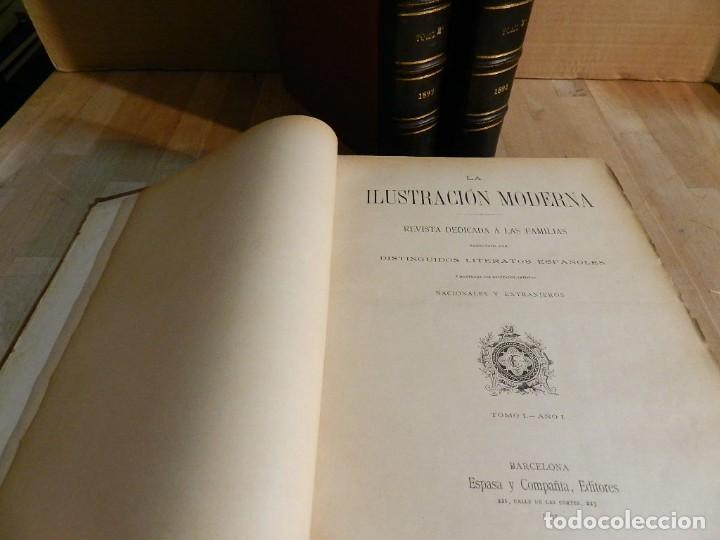 Coleccionismo de Revistas y Periódicos: LA ILUSTRACION MODERNA - TRES VOLÚMENES 1892 I - 1893 II 1893 III - Foto 3 - 224097067