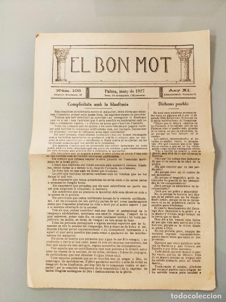 PUBLICACION BILINGÜE ORIGINAL MALLORQUIN CASTELLANO Nº103 MALLORCA 1927 (Coleccionismo - Revistas y Periódicos Antiguos (hasta 1.939))