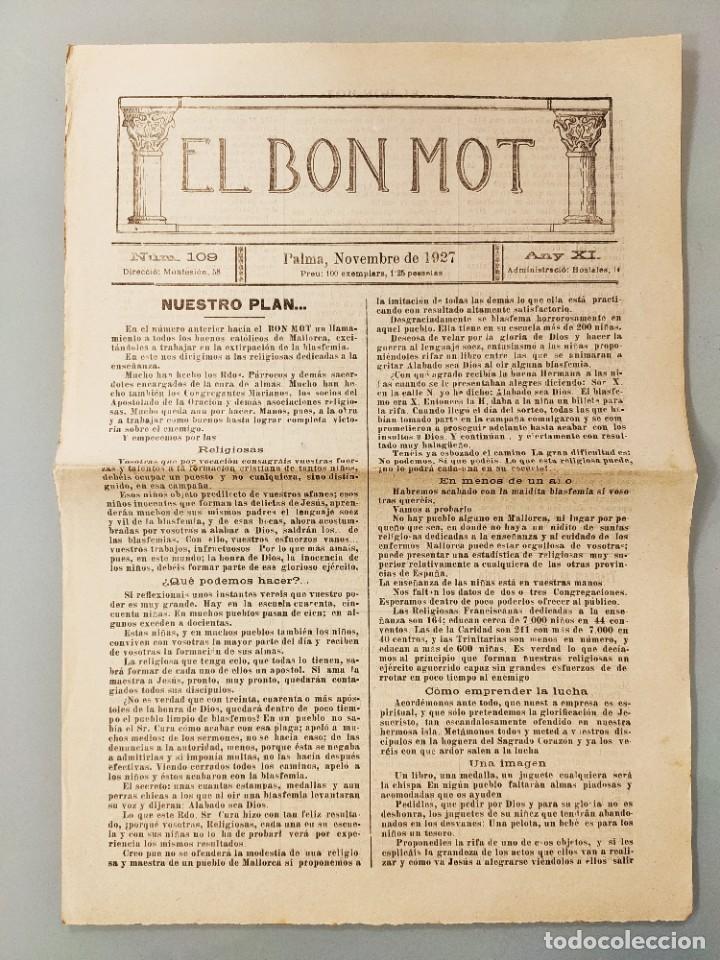 PUBLICACION BILINGÜE ORIGINAL MALLORQUIN CASTELLANO Nº109 MALLORCA 1927 SA VILETA ALCUDIA (Coleccionismo - Revistas y Periódicos Antiguos (hasta 1.939))