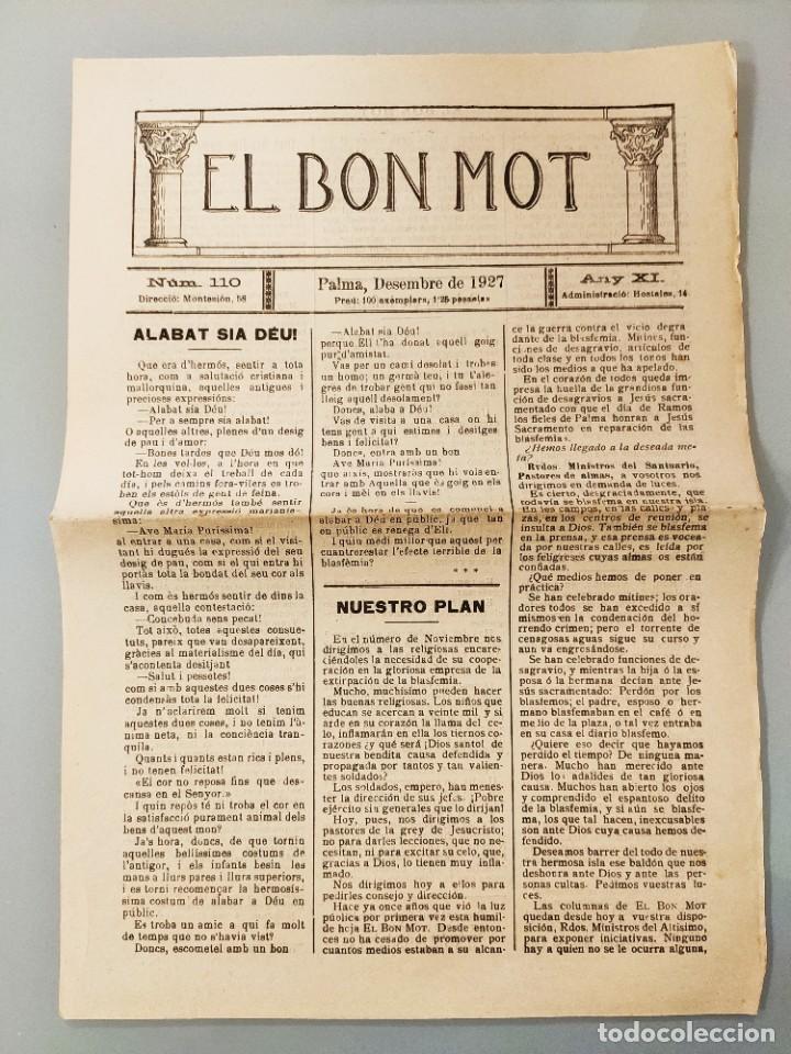 HOJA BILINGÜE ORIGINAL MALLORQUIN CASTELLANO Nº110 MALLORCA 1927 ALABAT SIA DEU (Coleccionismo - Revistas y Periódicos Antiguos (hasta 1.939))