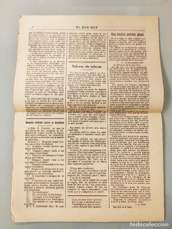 Coleccionismo de Revistas y Periódicos: HOJA BILINGÜE ORIGINAL MALLORQUIN CASTELLANO Nº110 MALLORCA 1927 ALABAT SIA DEU - Foto 2 - 224882350