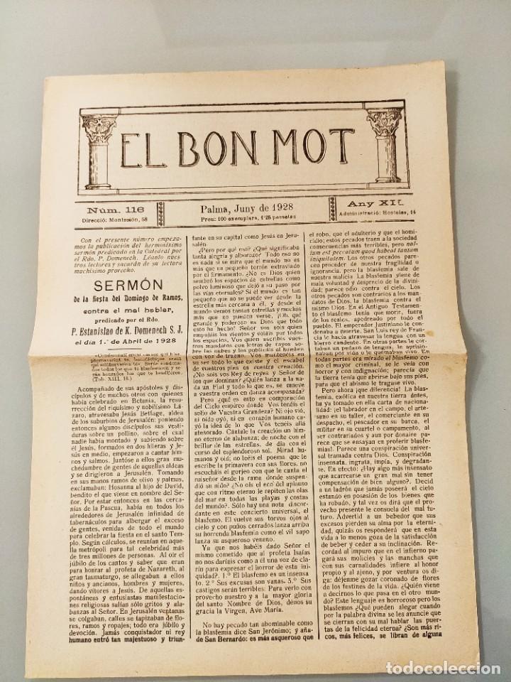 HOJA BILINGÜE MALLORQUIN CASTELLANO EL BON MOT Nº116 MALLORCA 1928 (Coleccionismo - Revistas y Periódicos Antiguos (hasta 1.939))