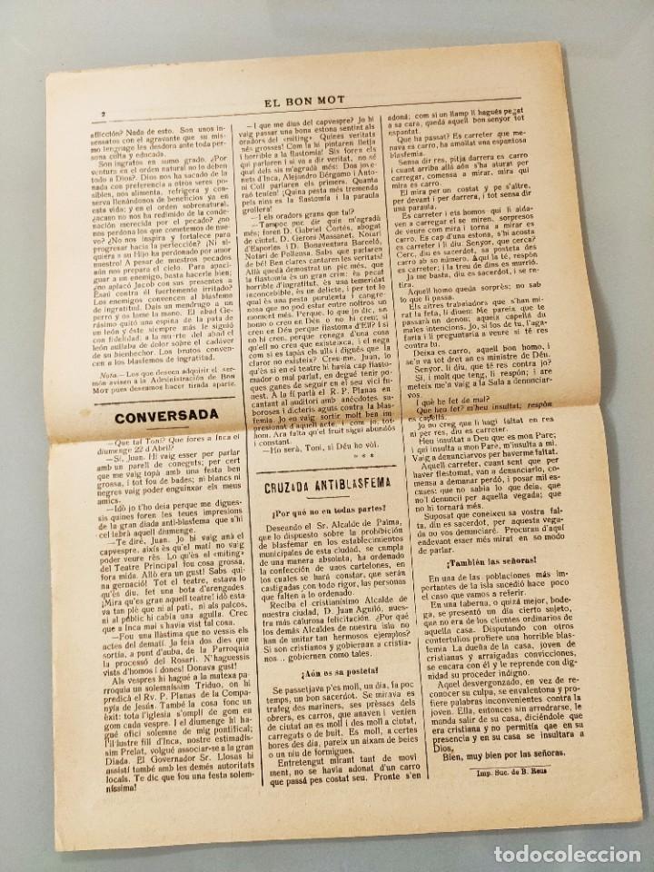 Coleccionismo de Revistas y Periódicos: HOJA BILINGÜE MALLORQUIN CASTELLANO EL BON MOT Nº116 MALLORCA 1928 - Foto 2 - 224882926