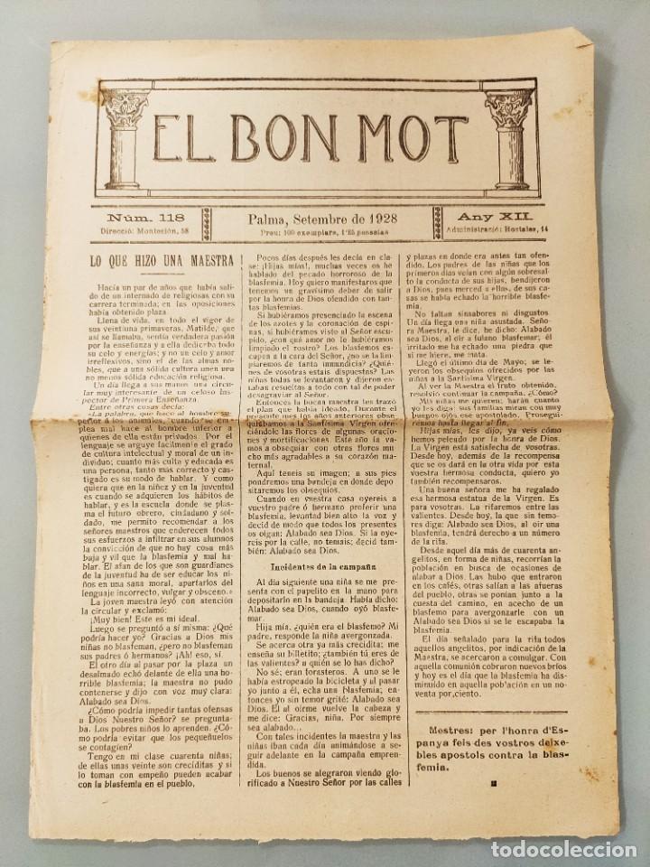 HOJA BILINGÜE MALLORQUIN CASTELLANO EL BON MOT Nº118 MALLORCA 19128 (Coleccionismo - Revistas y Periódicos Antiguos (hasta 1.939))