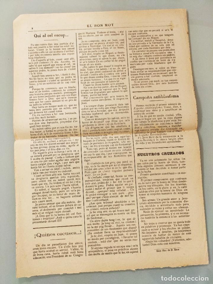 Coleccionismo de Revistas y Periódicos: HOJA BILINGÜE MALLORQUIN CASTELLANO EL BON MOT Nº118 MALLORCA 19128 - Foto 2 - 224883158