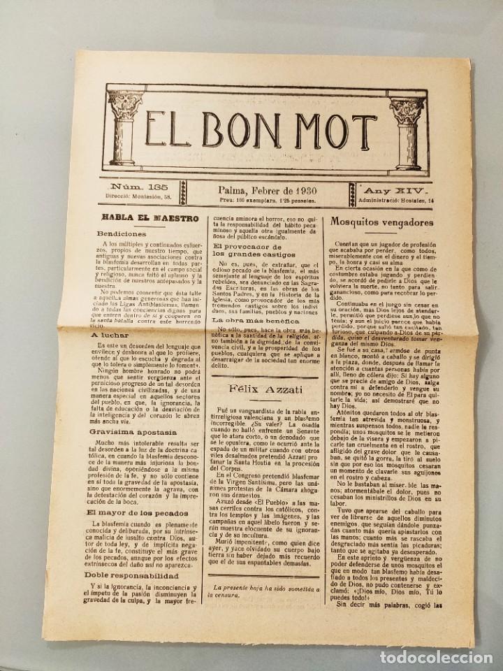 EL BON MOT Nº135 PALMA MALLORCA 1930 HOJA BILINGÜE FELIX AZZATI IVON L'ESCOP, MUY RARA (Coleccionismo - Revistas y Periódicos Antiguos (hasta 1.939))