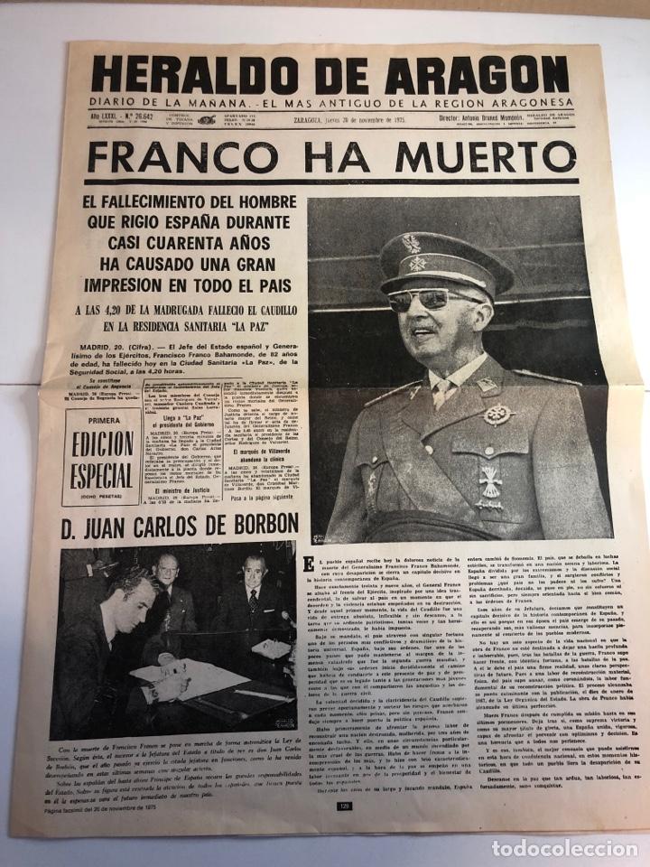 HERALDO DE ARAGON RECORDANDO LA MUERTE DE FRANCO (FACSÍMIL ) (Coleccionismo - Revistas y Periódicos Modernos (a partir de 1.940) - Otros)