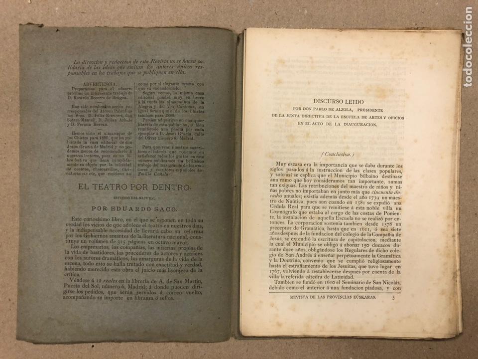 Coleccionismo de Revistas y Periódicos: REVISTA DE LAS PROVINCIAS EUSKARAS TOMO III N° 3 (1879). DIRIGE: FERMÍN HERRÁN. PABLO DE ALZOLA - Foto 2 - 225010045