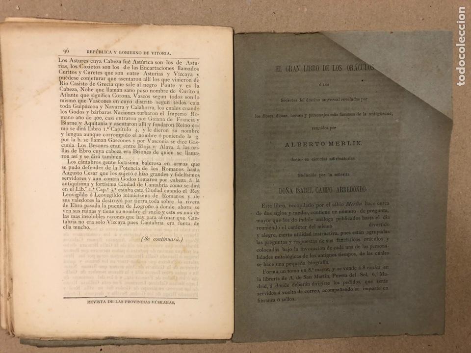 Coleccionismo de Revistas y Periódicos: REVISTA DE LAS PROVINCIAS EUSKARAS TOMO III N° 3 (1879). DIRIGE: FERMÍN HERRÁN. PABLO DE ALZOLA - Foto 9 - 225010045