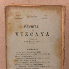 Coleccionismo de Revistas y Periódicos: REVISTA DE LAS PROVINCIAS EUSKARAS TOMO II N° 1 (1879). DIRIGE: FERMÍN HERRÁN. MATEO BENIGNO DE MORA. Lote 225026775