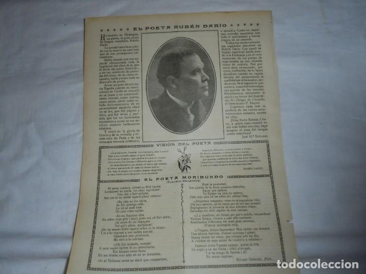 EL POETA RUBEN DARIO .HOJA DE REVISTA ROSAS Y ESPINAS 1916 (Coleccionismo - Revistas y Periódicos Antiguos (hasta 1.939))