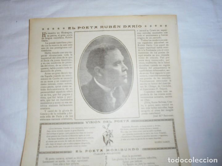 Coleccionismo de Revistas y Periódicos: EL POETA RUBEN DARIO .HOJA DE REVISTA ROSAS Y ESPINAS 1916 - Foto 2 - 226137880