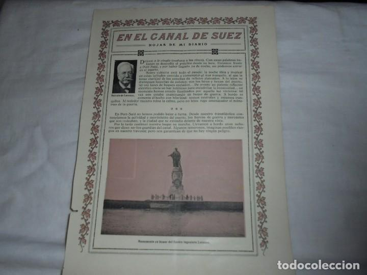 Coleccionismo de Revistas y Periódicos: EN EL CANAL DE SUEZ.2 HOJAS DE REVISTA ROSAS Y ESPINAS 1916 - Foto 2 - 226138265