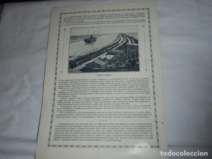 Coleccionismo de Revistas y Periódicos: EN EL CANAL DE SUEZ.2 HOJAS DE REVISTA ROSAS Y ESPINAS 1916 - Foto 3 - 226138265