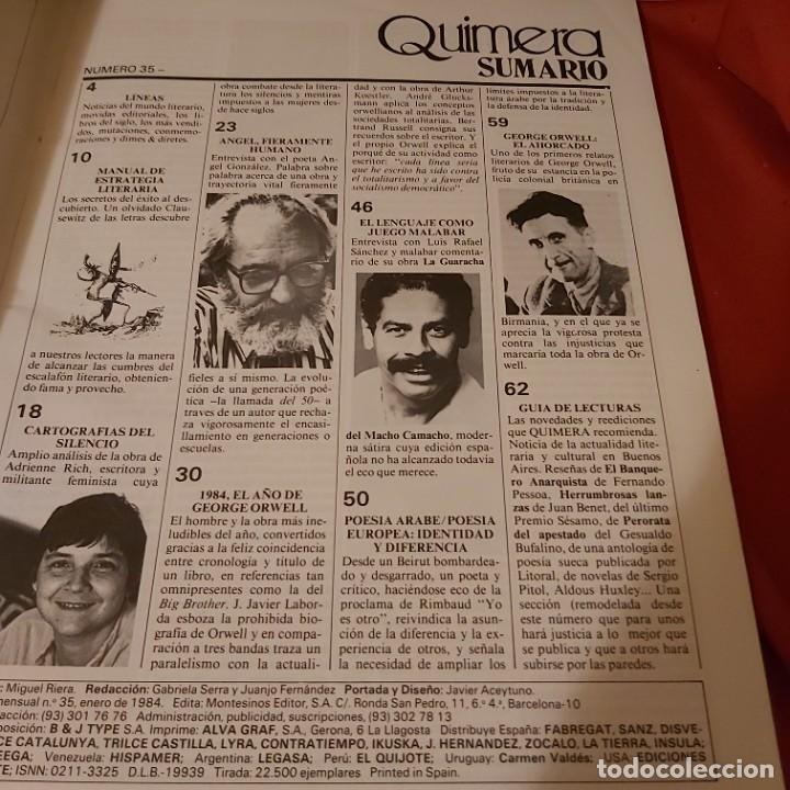 Coleccionismo de Revistas y Periódicos: Quimera. N número 35. Revista mensual enero 1984. - Foto 6 - 226138795