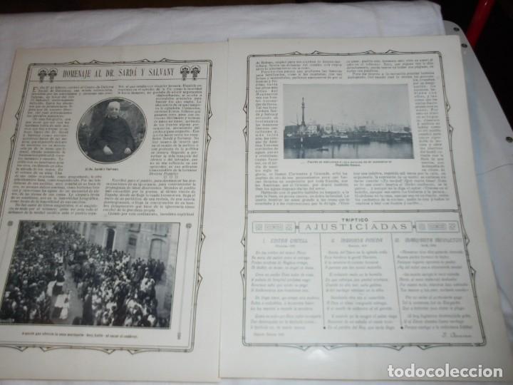 HOMENAJE AL DR.SARDA Y DALVANY.2 HOJAS DE REVISTA ROSAS Y ESPINAS 1916 (Coleccionismo - Revistas y Periódicos Antiguos (hasta 1.939))