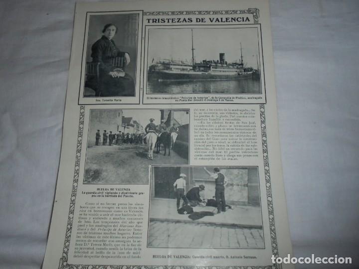 HUELGA DE VALENCIA.HOJA DE REVISTA ROSAS Y ESPINAS 1916 (Coleccionismo - Revistas y Periódicos Antiguos (hasta 1.939))