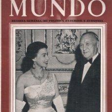 Coleccionismo de Revistas y Periódicos: MUNDO REVISTA DE POLITICA EXTERIOR Y ECONOMIA Nº 938 1958. Lote 226215470