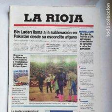 Coleccionismo de Revistas y Periódicos: DIARIO LA RIOJA. MARTES 25 SEPTIEMBRE 2001. FIESTAS DE SAN MATEO LOGROÑO. TDK309B. Lote 226690695