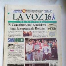 Coleccionismo de Revistas y Periódicos: DIARIO LA VOZ DE LA RIOJA 16. SABADO 23 SEPTIEMBRE 1995. Nº 707. TDK309B. Lote 226691045