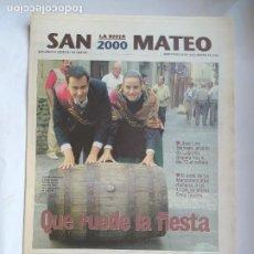 Coleccionismo de Revistas y Periódicos: DIARIO LA RIOJA. SUPLEMENTO ESPECIAL 20 SEPTIEMBRE DE 2000. FIESTAS SAN MATEO LOGROÑO TDK309B. Lote 226691285