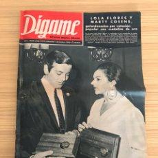 Coleccionismo de Revistas y Periódicos: DIGAME REVISTA NO.1400, ROTATIVO GRAFICO SEMANAL, LOLA FLORES Y MARTY COSENS, GALARDONADOS (A.1966). Lote 227111420